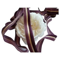 Plum  & cream narrow velvet striped old French ribbon : 81 inches : doll projects