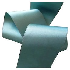3 yards French quality turquoise ribbon : unused on old original packaging : doll projects