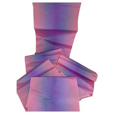 3 yards  old French shimmering pink & blue wide taffeta shot silk ombre ribbon : unused : doll projects