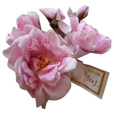 Delicious French old millinery bouquet of pink roses & rosebuds  : original shop label  : doll projects