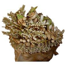 Delicious 19th C. French bride's elaborate wax wedding crown : tiara