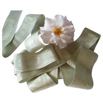 Delicious French Eau de Nil unused moire ribbon : old stock : doll projects :  78 inches