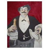 Amusing old Swiss Perrier - Jouet Champagne menu card : Albert Guillaume caricaturist 1873 - 1942 : Belle Epoque