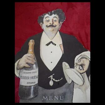 Amusing old Swiss Perrier - Jouet Champagne menu card : Albert Guillaume caricaturist 1873 - 1942 : Belle Epoque