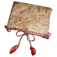 Delicious old French hand made boudoir silk case or pochette with passementerie & tassels