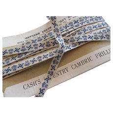 5 Yards of charming blue & white vintage narrow cambric frillings : tape  : ribbon : floral motifs doll projects
