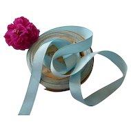 Pretty sky blue grosgrain French silk ribbon : unused still on original packaging shop roll : + 10 yards