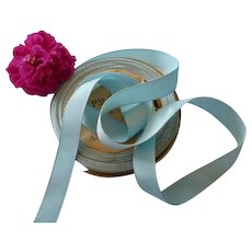 Pretty sky blue grosgrain French silk ribbon : unused still on original packaging shop roll : + 10 yards