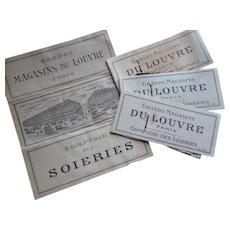 4 interesting French Magasin du Louvre Paris silk fabric samples : circa 1900 : Comptoir des soieries