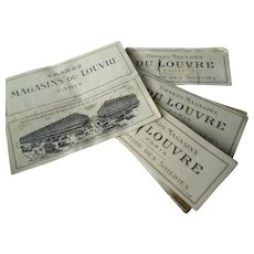 Interesting batch 4 French Magasin d Louvre Paris silk fabric samples : circa 1900 : Comptoir des soieries