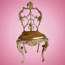 Adorable 19th C. French miniature gilt bronze chair : mignonette doll size