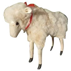 Adorable French real fleece sheep : glass eyes : 15 inches high : circa 1900 : antique Jumeau doll companion