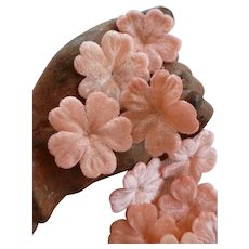 13 adorable French pink artificial velvet flowers: circa 1900 : doll clothing projects
