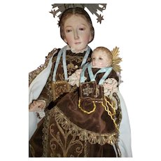 Beautiful 19th C. Spanish religious Madonna & Child statue : wood gesso glass eyes : original clothing