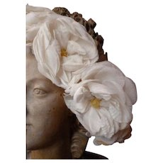 Vintage French Communion crown : plump fabric roses : faded grandeur period display