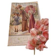 Interesting French Au Printemps Paris catalogue : clothing : corsets : jewelry : boudoir : linen : shoes : dated 1909