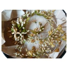 Rare find delicious antique French bridal wax crowns : corsage : earrings : period display