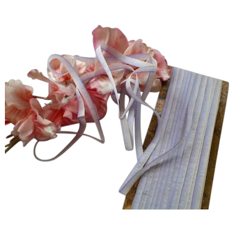 15 yards delicious antique French silk ombre ribbon : blue tones : unused on original packaging : doll projects