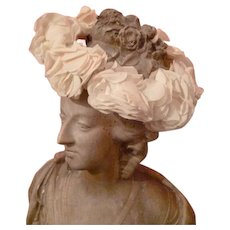 Delicious old French Communion crown : plump fabric roses : faded grandeur period display