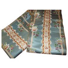Delicious antique blue striped silk fabric : 2 morceaux : Georgian period : projects