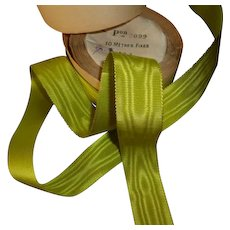 Unusual lustrous French lime green moire gros grain ribbon : unused original packaging roll : doll projects : 2 YARD LENGTHS