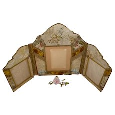Faded grandeur antique French folding boudoir photo frame : 18th C fabrics : gold metallic lace & passementerie : velvet
