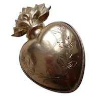 Unusual 19th C. French plump gilt brass flaming sacred heart ex voto reliquary : foliage wreath