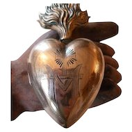Decorative 19th C. French gilt brass flaming sacred heart ex voto reliquary : initial M : cross