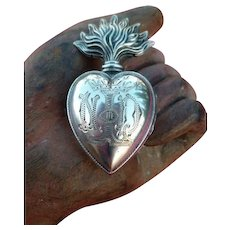 Decorative French ex voto flaming sacred heart reliquary : crown : Notre Dame de Lourdes : circa 1880 :  2 1/4 inches high
