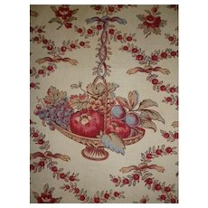 Delicious French old Toile de Jouy fabric sample : vignettes :  bowl of fruit with ribbon bow : floral & foliage motifs projects