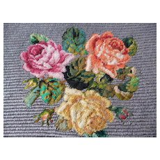 Exquisite antique French hand made petit point tapestry panel  : roses & rosebuds : unused : projects