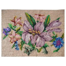 Exquisite antique French hand embroidered petit point tapestry panel : lily bouquet : unused  projects