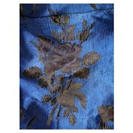 Exquisite 19th C. French Royal blue & black silk brocade : rose & carnation motifs : unpicked skirt panel : projects : FREE SHIPPING