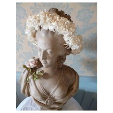 Delicious old French communion crown  : plump  fabric roses : period display