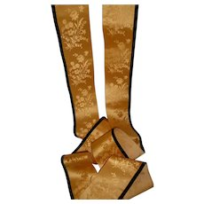 2 delicious morceaux antique French gold silk satin ribbon : floral bouquet :  55 and 45 inches  : doll projects