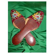 Delicious pair 19th C. hand embroidered velvet ladies mules: shoes : slippers : micro bead floral motifs