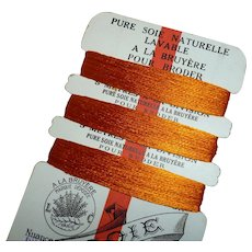 Delicious old French burnt orange pure silk thread : original A la Bruyere shop card : sewing projects ( 30 meters )