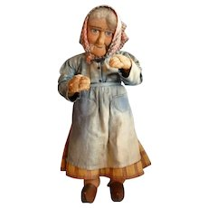 Charming large cloth old lady character French peasant doll  : Yvonne  Spaggiari : circa 1920 -30's : FREE SHIPPING