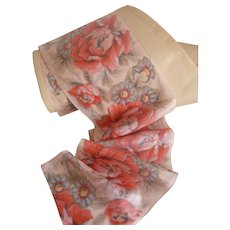 Morceau delicious old French pink rayon ribbon : floral motifs : unused : original  packaging paper : 53 inches