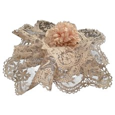 Delicious 19th C. hand applied net lace collar and flounce : floral & foliage motifs : antique doll costume projects