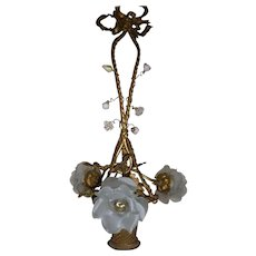 French gilt bronze basket chandelier : porcelain flowers : ribbons & bow : Louis XVI style : c. 1900 : FREE SHIPPING