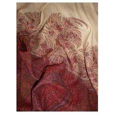Beautiful 19th C. large Paisley : Kashmir rectangular shawl : floral motifs : cream center