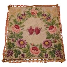 Splendid old French embroidered chalice cover : flaming sacred heart, rose, viola , anemone , wheat , grape motifs