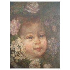 Utterly charming antique French oil on canvas portrait young child : cherub face : flowers