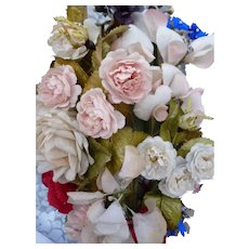 Delicious 19th C. French fabric & paper floral bouquet : roses sweet peas forget me nots pansy motifs : period display