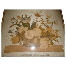 Charming French chenille embroidery picture : basket of flowers : Augustine Delaunay 1832 : Georgian period