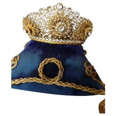 Unusual bejewelled 19th C. French full size Madonna Santos religious crown : diadem : trembling flowers : circa 1880