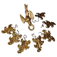 Faded grandeur 19th C. French repousse gilded tole ware dove bird and leaf motifs : crown projects