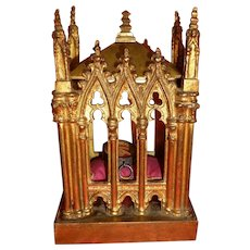 19th C. French Gothic chapel reliquary chasse : Catholic St Vincent de Paul relic : FREE SHIPPING