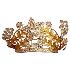 Bejewelled 19th C. French large crown : Madonna Santos statue diadem : trembling star